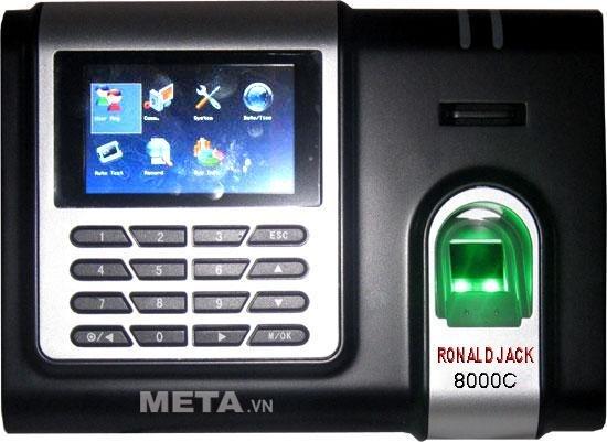 Máy chấm công vân tay, thẻ cảm ứng Ronald Jack 8000C có mắt đọc chống trầy xước.