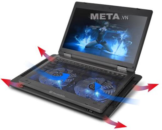 Đế làm mát Laptop Thermaltake Massive 14² CL-N001-PL14BU-A  gồm 2 quạt tản nhiệt