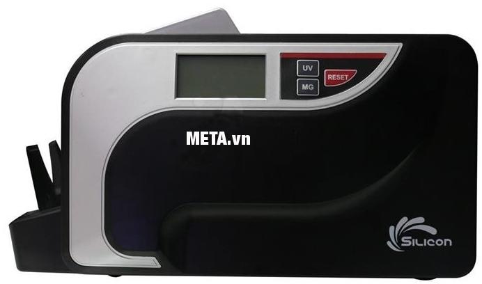 Máy đếm tiền Silicon MC-3600 có logo chính hãng Silicon bên hông máy.