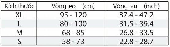Bảng tham khảo kích cỡ của đai cố định lưng Bonbone Pro Hard Slim