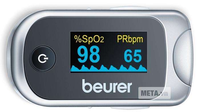 Máy đo nồng độ oxy trong máu SpO2 và nhịp tim Beurer PO40 có thể xoay màn hình 4 hướng.
