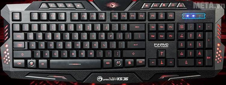 Bàn phím game Marvo K636 thiết kế có độ nghiêng vừa phải tạo sự thoải mái cho người dùng.