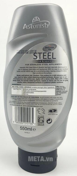 Chất tẩy rửa kim loại Astonish Pro Steel 550ml không gây vấy bẩn khi sử dụng