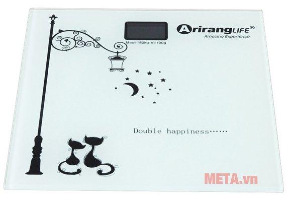 Cân sức khỏe Ariranglife AR-S2016B có bề mặt bằng kính chịu lực.