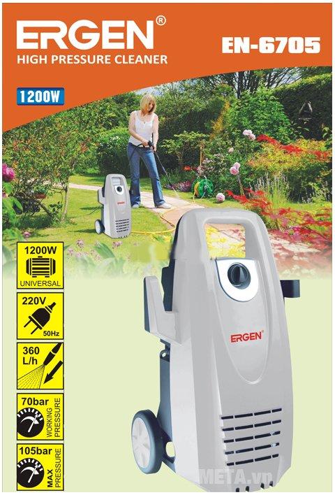 Máy rửa xe Ergen EN-6705 hoạt động với công suất mạnh mẽ