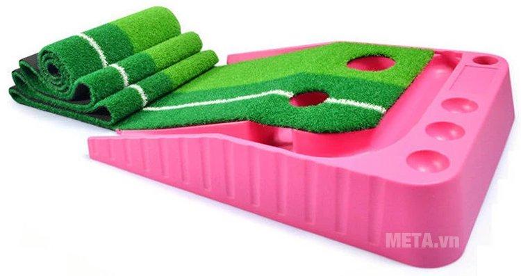 Thảm tập Golf Putting 2 Color màu hồng