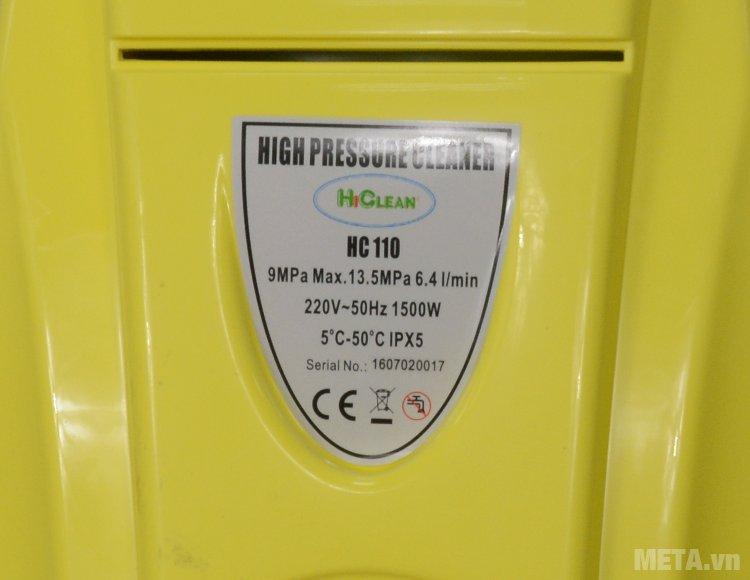 Thông số kỹ thuật của máy rửa xe cao áp HiClean HC 110