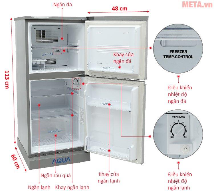 Cấu tạo của tủ lạnh Aqua 110 lít AQR-125BN
