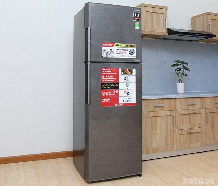 Tủ lạnh Sharp inverter SJ-X346E-DS lắp đặt tiết kiệm diện tích