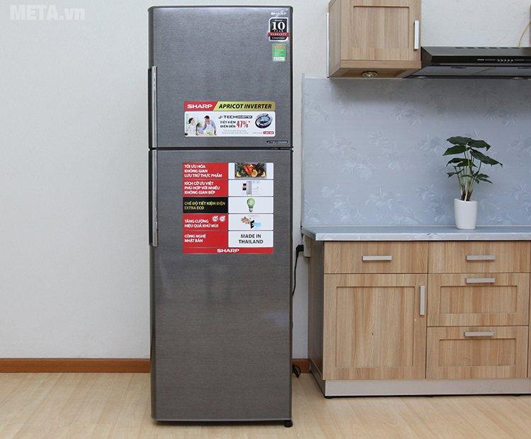 Tủ lạnh Sharp inverter SJ-X346E-DS màu bạc sẫm