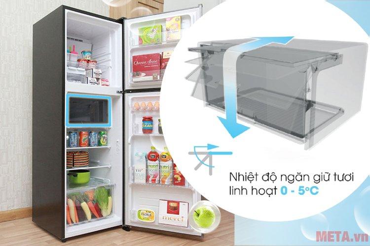 Ngăn giữ tươi linh hoạt của tủ lạnh Sharp SJ-X251E-SL tiện ích hơn