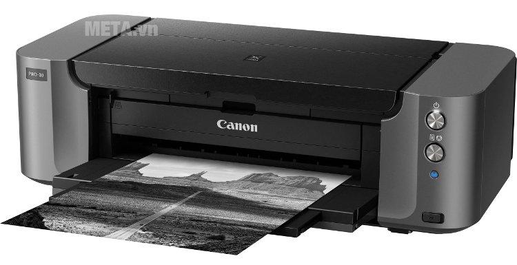Máy in phun màu Canon PIXMA PRO-10 có tốc độ in tối đa 3 phút 35 giây (khổ A3)