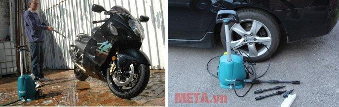 Máy xịt áp lực cao Makita HW102 giúp rửa xe máy, ô tô ngay tại nhà đơn giản