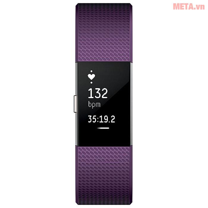 Vòng tay theo dõi sức khỏe Fitbit Charge 2 màu Plum Silver