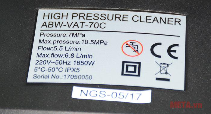 Máy phun xịt rửa cao áp New Kachi ABW với các thông số kĩ thuật