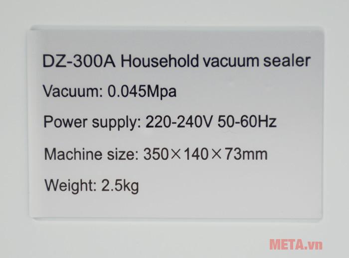 Máy hút chân không DZ-300A có trọng lượng 2.5kg