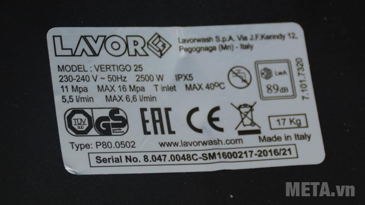 Thông số kỹ của máy rửa xe Lavor Vertigo 25