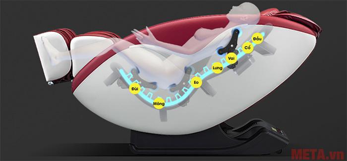 Con lăn sẽ chuyển động nhẹ nhàng toàn thể cơ thể người dùng
