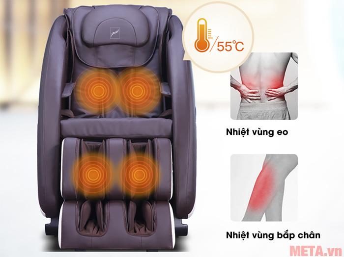 Máy còn có chế độ massage nhiệt vùng eo và vùng bắp chân