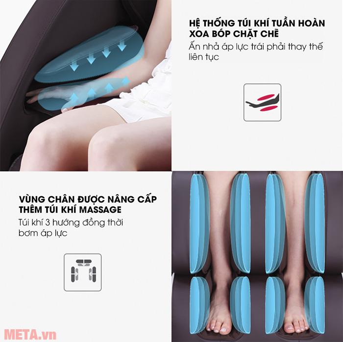 Túi khi dưới bàn chân được thiết kế 3 hướng