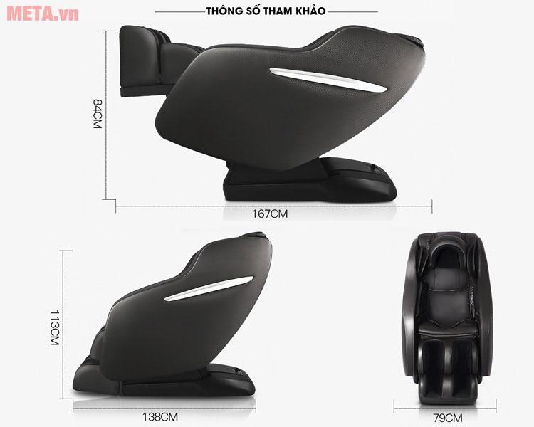 Kích thước của ghế massage toàn thân Osaka