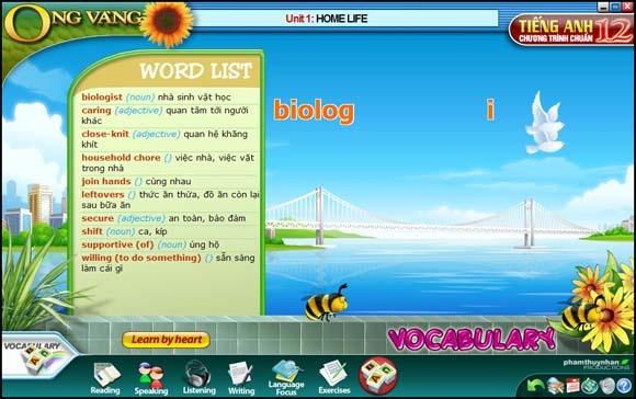 Giao diện chương trình Ong vàng - Tiếng Anh lớp 12