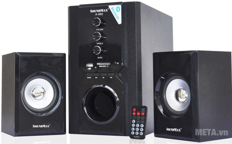 Loa SoundMax A980 2.1 với thiết kế điều khiển từ xa.
