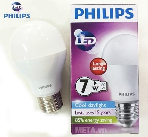 Bộ 3 bóng đèn Led Bulb Philips 7-60W E27 A55 bền, khó vỡ.