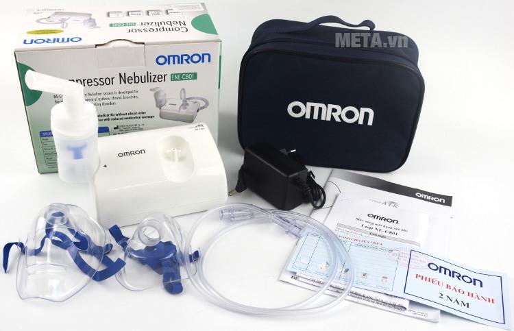 Máy xông mũi họng Omron NE-C801 với trọn bộ sản phẩm.