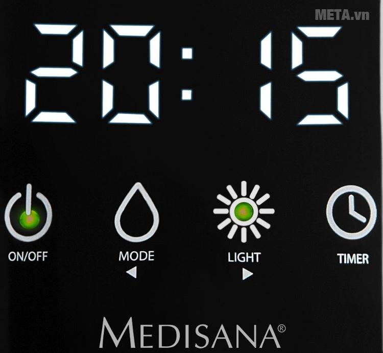 Máy khuếch tán tinh dầu Medisana AD640 với thiết kế màn hình hiển thị đồng hồ.