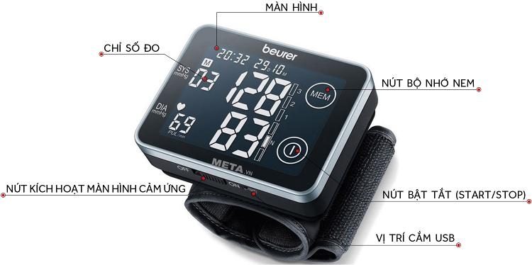 Cấu tạo của máy đo huyết áp Beurer BC 58