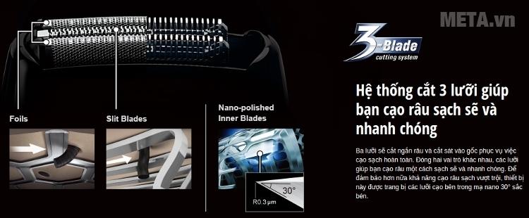 Máy cạo râu Panasonic ES-RT36 có hệ thống cắt 3 lưỡi