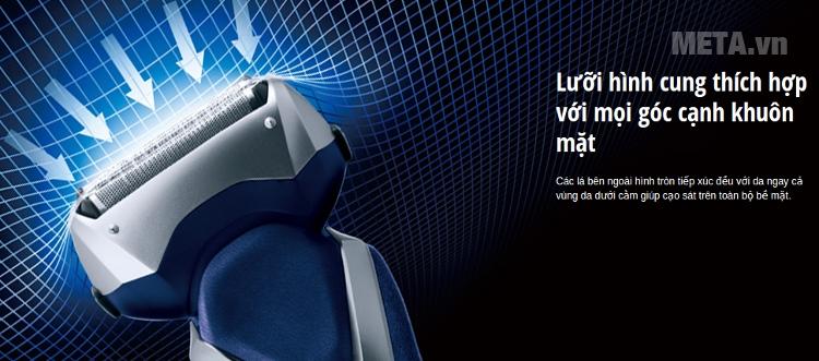 Máy cạo râu Panasonic ES-RT36 thiết kế lưỡi dao hình cung sắc bén.