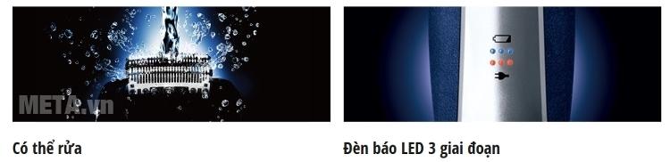 Máy cạo râu Panasonic ES-RT36 có đèn báo led 3 giai đoạn.
