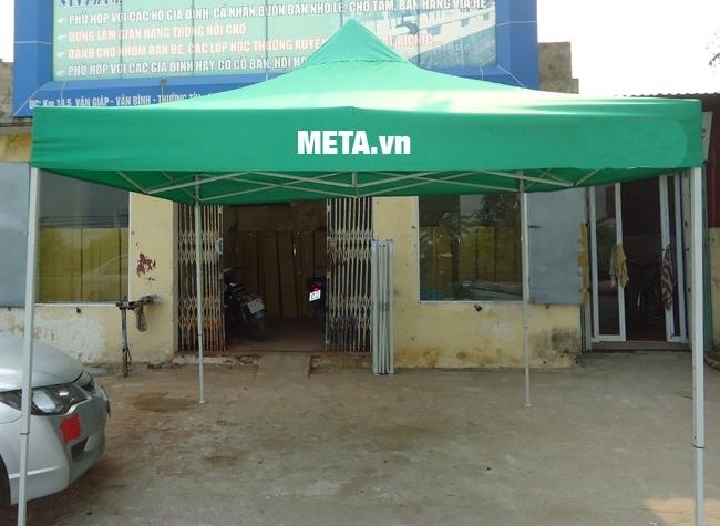 Nhà bạt di động 3m x 3m sản xuất tại Việt Nam, bạt mái màu xanh lá.