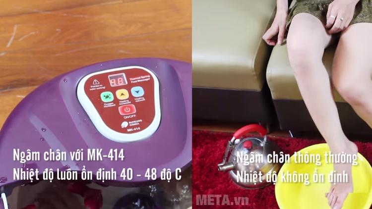 Bồn massage chân Buheung MK-414 giữ nhiệt độ nước ổn định.