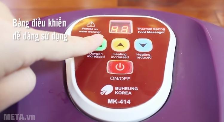 Bồn massage chân Buheung MK-414 thiết kế bảng điều khiển dễ sử dụng.
