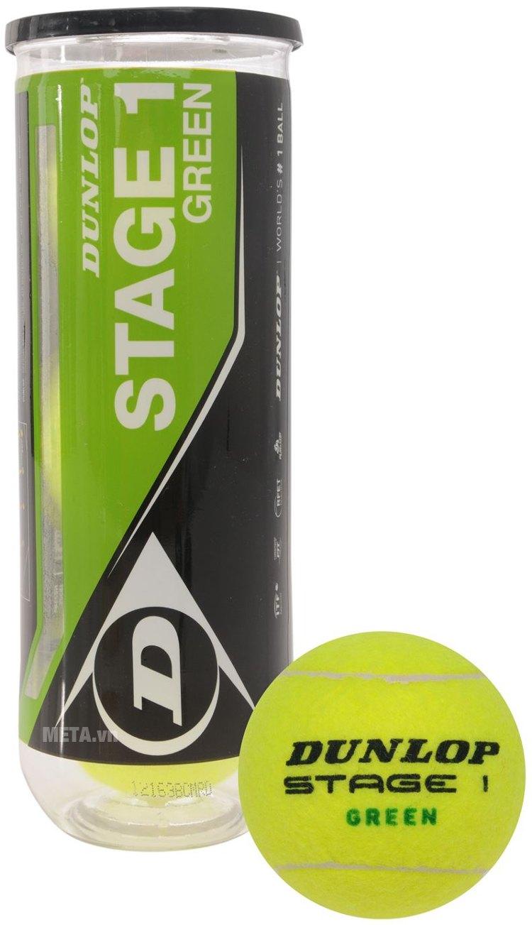 Bóng tennis Dunlop trẻ em Stage 1 Green gồm 3 quả trong 1 hộp.