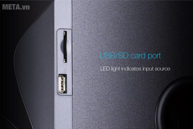 Loa Fenda F3800X có cổng kết nối USB/khe cắm thẻ SD