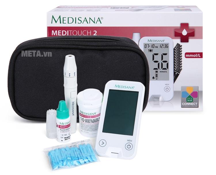 Bộ sản phẩm đầy đủ của máy đo đường huyết Medisana Meditouch 2