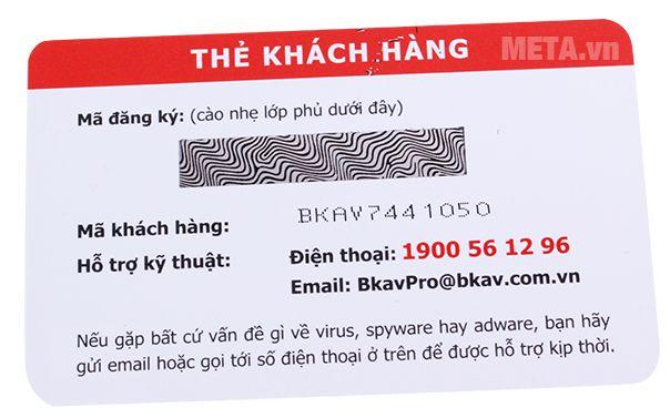 Bkav Pro Internet Security 1 năm/01 gồm 1 thẻ khách hàng chứa mã cào.