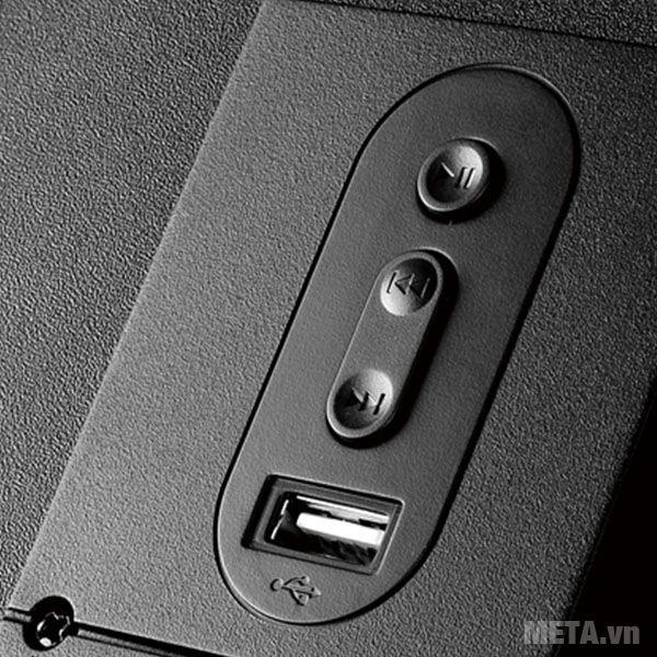 Các nút điều khiển next, stop, play bài hát trên loa siêu trầm Edifier P3060