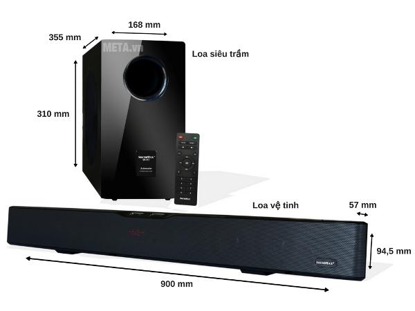 Bộ loa SoundMax SB-217/2.1 đầy hứa hẹn với tính năng thông minh của loa siêu trầm và loa vệ tinh
