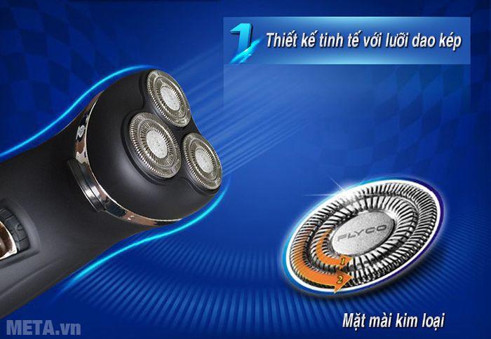 Hình 1 - Máy cạo râu Flyco FS-330VN thiết kế mặt mài kim loại