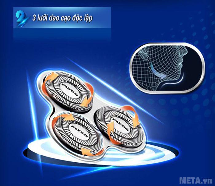 Hình 2 - Máy cạo râu Flyco FS-330VN thiết kế 3 lưỡi dao cạo độc lập