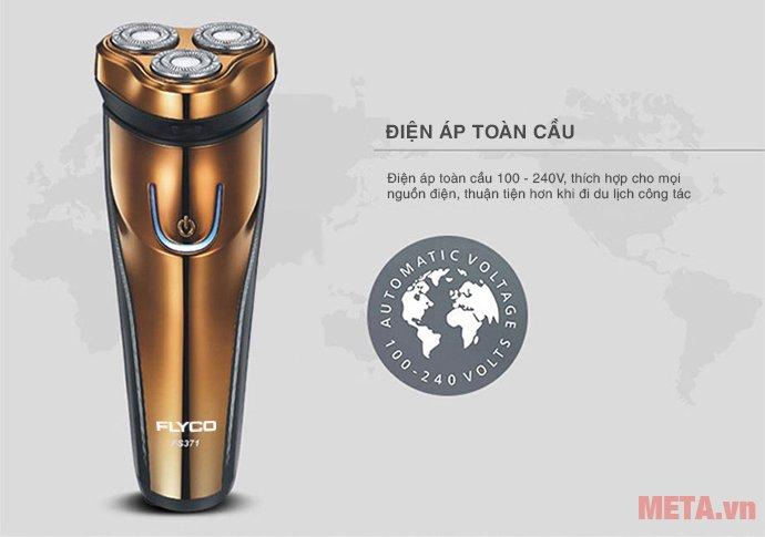 Máy cạo râu Flyco FS-371VN sử dụng điện áp toàn cầu 100 - 240V