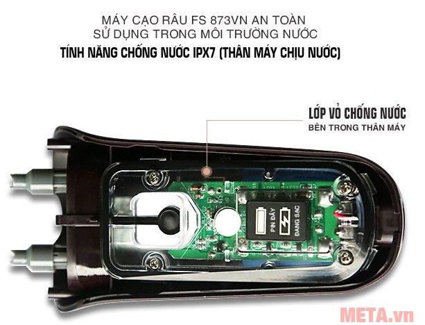 Máy cạo râu Flyco FS-873VN an toàn khi sử dụng trong môi trường ẩm ướt