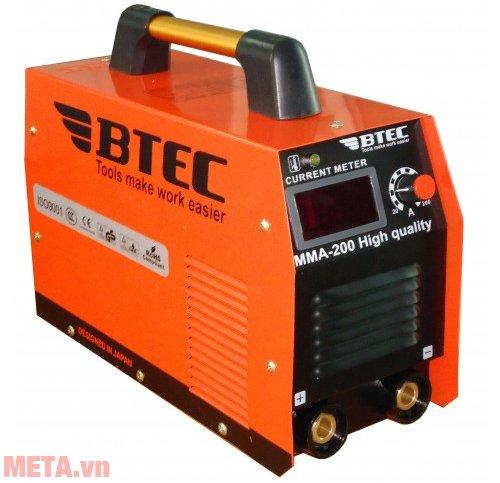 Máy hàn inverter Btec MMA 200 thiết kế ấn tượng, trọng lượng nhẹ, ổn định.